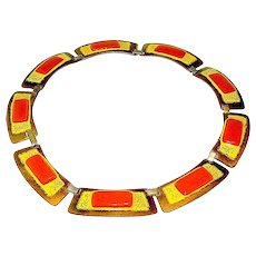 Necklace, Enamel Copper Toned signed Kay Denning