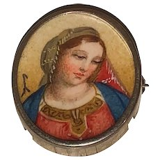 Vintage Oval Brooch Pin in sterling depicting the Virgin Mary