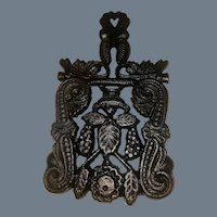 Vintage Wrought Iron Trivet marked AW