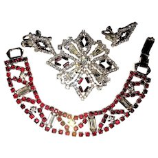 A Jay Flex Parure Pin Earrngs and Braclet Clear and Garnet Red Rhinestones