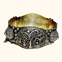 Antique Arabic Silver Cuff Bracelet