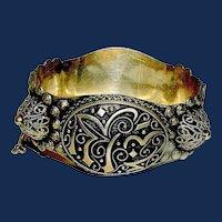 Antique Arabic Tribal 'Ethnic Silver Cuff Bracelet
