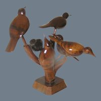 Antique Folk Art Sculpture of Perched Birds