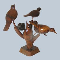 Antique Folk Art Sculpture of Perched Birds