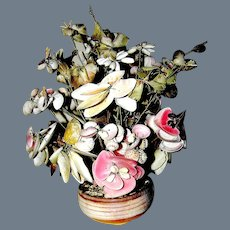 Folk Art Imitation Bonzai Tree In Seashells