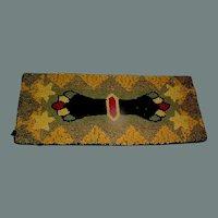 Vintage Folk Art Hand Made Hooked Rug