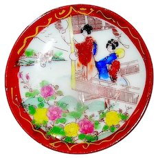 Vintage Japanese porcelain butter pats in the Geisha Girl pattern