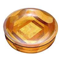 Folk Art Pedestal wood treen bowl of inlay woods