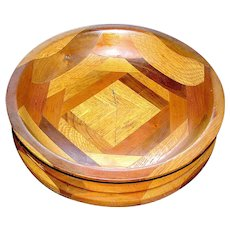 Folk Art Treen Bowl Segmented Polychromatic Wooden Pieces Parquetry