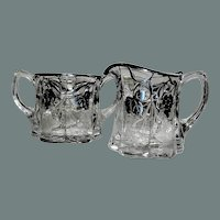 Silver Overlay and Etched Crystal Creamer and Sugar