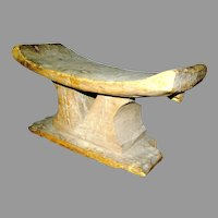 Antique Ethnographic Headrest in a light wood
