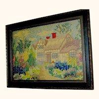 Early Crewel Tapestry in original frame