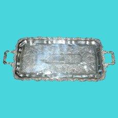 Elegant Long Silver Plate Salver Tray
