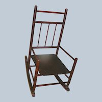 Primitive Child's Rocking Chair all original brown paint
