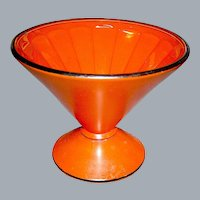 Vintage Cased Glass Dish in Holloween Orange