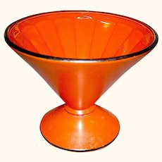 Vintage Cased Glass Dish in Holloween Orange