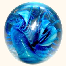 Vintage Glass Paperweight in blues by Eickholt