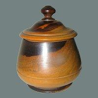 Antique Treen Turned Lignum Vitae Round Box