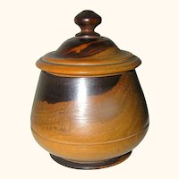 Antique Treen Turned Lignum Vitae Round Box