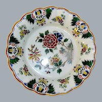 Polychrome Multi-colored Scalloped Delft Plate marked