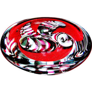 Vintage glass paperweight, Neil Duman Studio, Virginia Human Resources