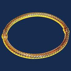 Jacmel Mauritius Sterling Silver and 18K Gold Vermeil Bangle Bracelet
