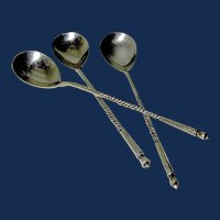Three Russian Silver Spoons marked 84 and Hallmarked