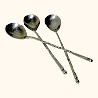Three Vintage Russian Silver Spoons 84 and Hallmarked
