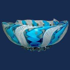 Vintage Glass Bowl Italy Ribbon Murano