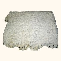 Vintage Crochet Tablecloth in an ecru or cream color