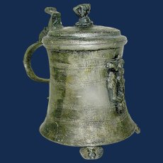 Pewter Footed Flagon / Tankard with lid