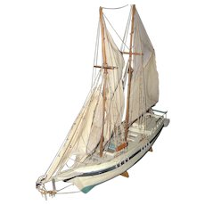 Antique Handmade Nautical Wood Sailboat