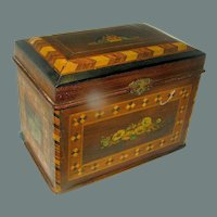 Antique Inlaid Turnbridge ware box decorated with decoupage floral designs