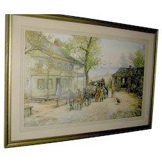 "Print of ""A Chance Passenger"", Joseph C. Claghorn, hard carved Walnut frame"