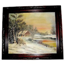 Antique Oil Painting, Winter, Deerfield Mass. Hand carved walnut frame, 1871