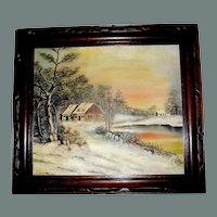 Oil Painting, Winter in Deerfield Mass. Hand carved walnut frame, 1871