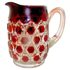 Antique Glass Pitcher in the EAPG Red Block pattern