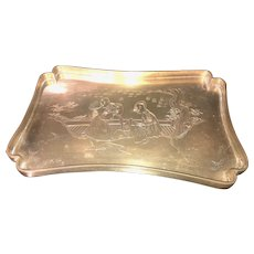 Early Chinese Brass  or Bronze Tray with an Incised Drawing on it.