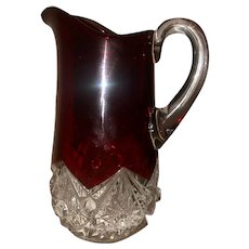 Flashed/Stained Ruby Glass Pitcher EAPG Souvenir 1909