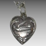 Fab Engraving 'Glen' - Dove and Olive Twig Sterling Silver Puffy Heart Charm