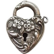 Walter Lampl Sterling Silver Puffy Heart Padlock Charm - Forget Me Not - Engraved 'Ray'