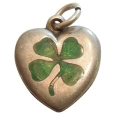 Shamrock - Lucky Four Leaf Clover Victorian Sterling Silver Puffy Heart Charm with Green Guilloche Enamel