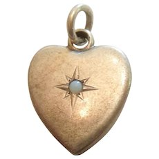 Victorian Sterling Silver Puffy Heart Charm with Opal Color Stone - Engraved 'WBJ'