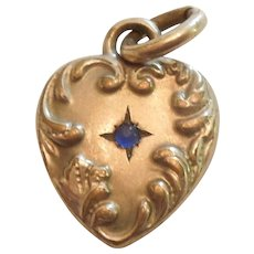Small Golden Victorian Repousse Puffy Heart Charm or Pendant with Sapphire Blue Cabochon Stone - Engraved 'MN'