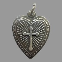 Sterling Silver Repousse Puffy Heart Charm with Cross / Religious