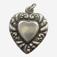 Larger Sterling Silver Puffy Heart Charm - Double-sided Heart-in-Heart with Repousse Curls Border