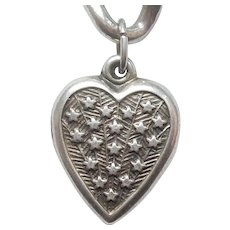 Sterling Silver Puffy Heart Charm - Shooting Stars