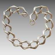 Vintage Sterling Silver Art Deco Link Starter Charm Bracelet - 7''