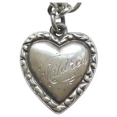 'Mildred' Double-sided Sterling Silver Puffy Heart Charm - Repousse Border