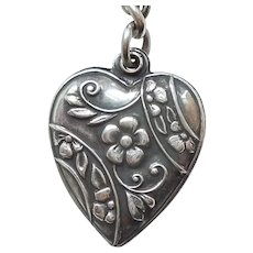 Sterling Silver Floral Puffy Heart Charm